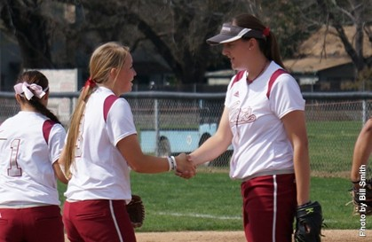 Chico State softball players (L-R) Kelli Keefe and Kayla McConnell.