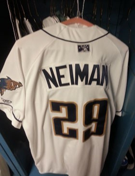 Chico State alum Troy Neiman's Tri-City Dust Devils jersey.