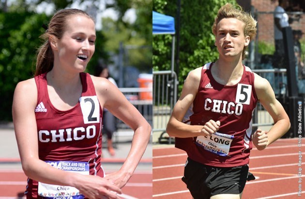 Chico State track & field athletes McCall Habermehl (left) and Garrett De Long.